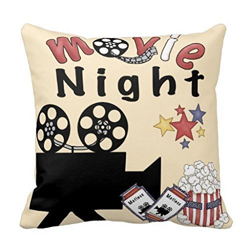 Movie Night Taie d'Oreiller Coton et polyester doux décoratifs Home Couvre-lit Taie d'oreiller Housse de coussin 45,7 cm/45 x 45 cm