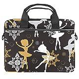 TIZORAX Laptoptasche mit Tragegriff, Design: Gänseblümchen und Punkte, 38,1 - 39,1 cm (15 - 15,4 Zoll)