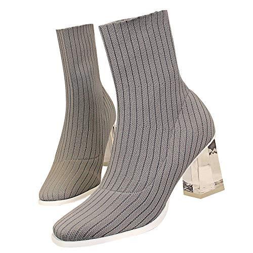 Yhjmdp Botas de Mujer de Punta Puntiaguda Botas de Las señoras de tacón Transparente Grueso Botas de Cristal elástico Zapatos de Mujer,Gris,35 ⭐