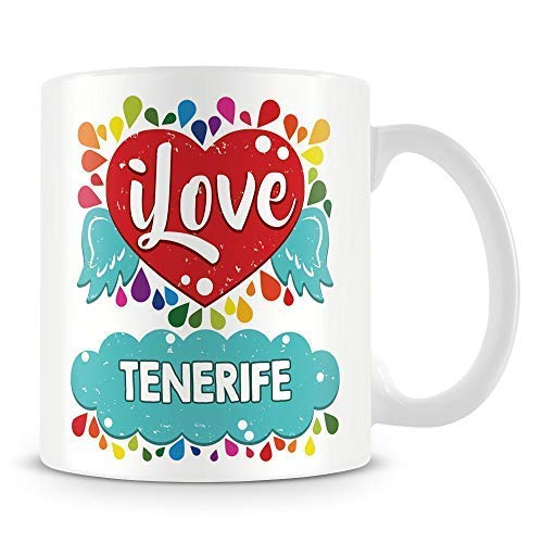 "Sar54ryld Taza de café con texto en inglés ""I Love Tenerife personalizada, 325 ml, color blanco"