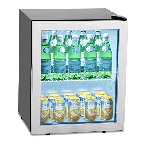Royal Catering Nevera Expositora De Bebidas Frigorífico Mini RCGK-54A (Doble vidrio, Cubierta de acero inoxidable, Temperatura de 0-10 °C, 54 L)