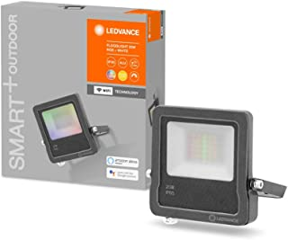 LEDVANCE Luz exterior LED inteligente con tecnología WiFi, focos para exterior, colores RGB intercambiables, 20W, fabricada en aluminio gris oscuro, compatible con Google y Alexa, SMART+ WIFI FLOOD