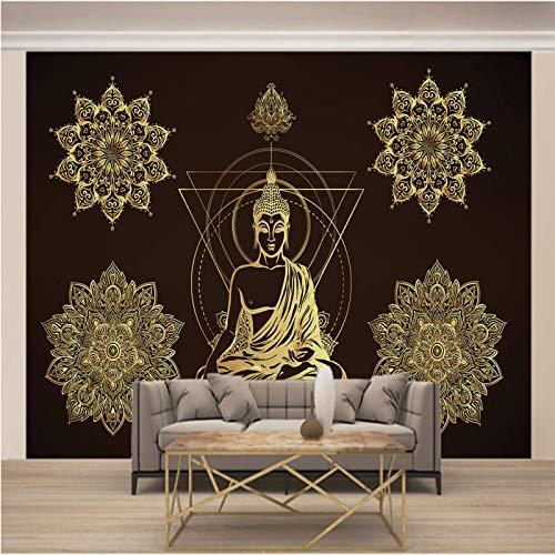 LucaSng Autoadhesivo 3D infantil mural pared - Negro religión arte estatua de Buda -...