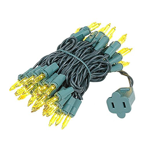 Novelty Lights 50 Light Yellow Christmas Mini String Light Set, Green Wire, Indoor/Outdoor UL Listed, 11' Long