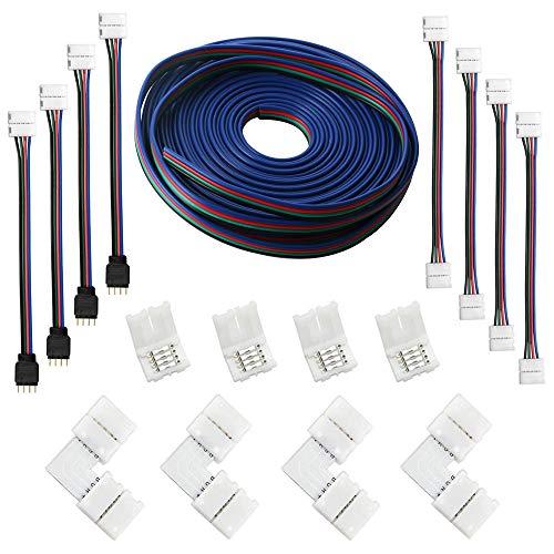 RUNCCI-YUN (5M) Cable de extensión de tira LED RGB de 4 clavijas, kits de conectores de tira LED, conectores en forma de L para luz de tira LED flexible 5050 RGB