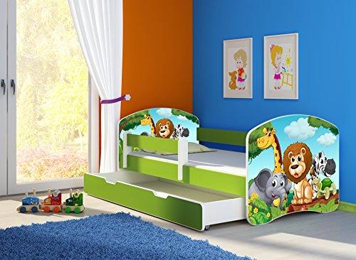 Clamaro 'Fantasia Grün' 140 x 70 Kinderbett Set inkl. Matratze, Lattenrost und mit Bettkasten Schublade, mit verstellbarem Rausfallschutz und Kantenschutzleisten, Design: 02 Tierpark-2