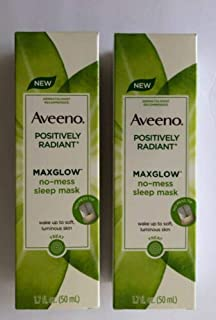Aveeno Positively Radiant Max Glow Sleep Mask 1.7 Ounce (50ml) (2 Pack)