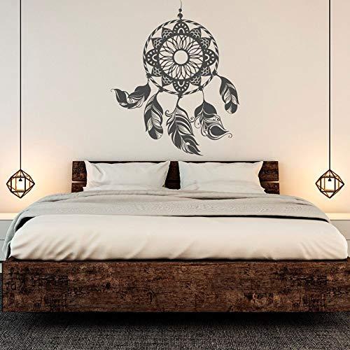 Atrapasueños estilo bohemio apliques de plumas calcomanía de pared decoración de interiores dormitorio sala de estar cartel calcomanía de pared mural A7 42x51cm