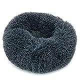 Fur & Bone Round Plush Cat Dog Bed, Calming Donut Cuddler Washable Pet Bed Super Soft and Fluffy Puppy Cushion Mat for Warm Sleeping (40 CM, Dark Grey)