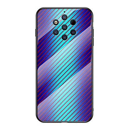 Grandcase Capa para Nokia 9 PureView, capa traseira de vidro temperado ultrafina com textura de fibra de carbono avançada resistente a arranhões para Nokia 9 PureView 6 polegadas – azul
