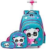 Mochila Escolar con Ruedas niña,Estilo Princesa Lindo Panda Estudiantes de Primaria Carros para Mochilas Bolsa de Almuerzo Estuche Escolares Equipaje de Viaje Multifuncional(Azul)