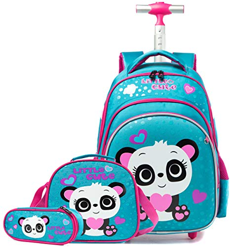 Meetbelify Girls Rolling Backpack Wheels Backpacks for Girls for School Wheeled Trolley Backpack with Wheels for Girls …