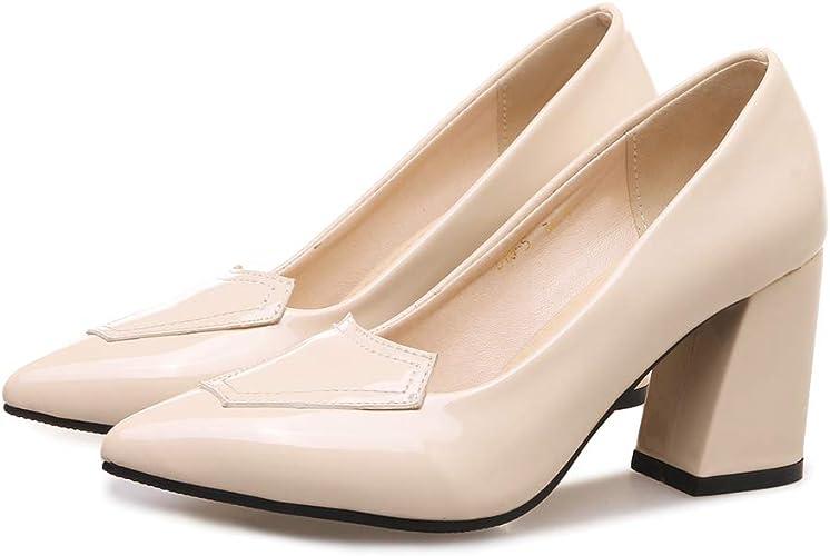 ZYN-XX Chaussures à Talons de Couleur Unie Noir Pointu Talons épais Talons Hauts Bouche Peu Profonde Chaussures de Mode Printemps et en été Wild Sandales
