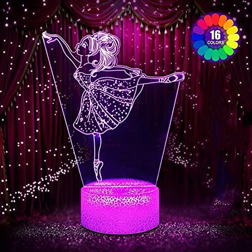 Zenghh Regalos del Ballet de Chicas, ilusión 3D luz de la Noche la lámpara de cabecera Wtih Control Remoto 16 Colores Que cambian de función Dim, Sala/proyector casero Creativo cumpleaños Regalos de