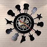 Reloj de pared con diseño de silueta de guitarra acústica en un círculo de música para sala de música, reloj de pared con diseño de círculo de guitarras