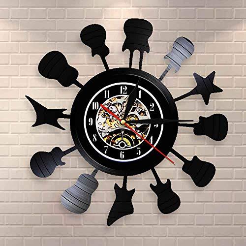 BFMBCHDJ Akustische Gitarre Silhouette in einem Kreis Musikzimmer Wandkunst Wanduhr Kreis der Gitarren Schallplatte Wanduhr Rock N Roll Geschenk