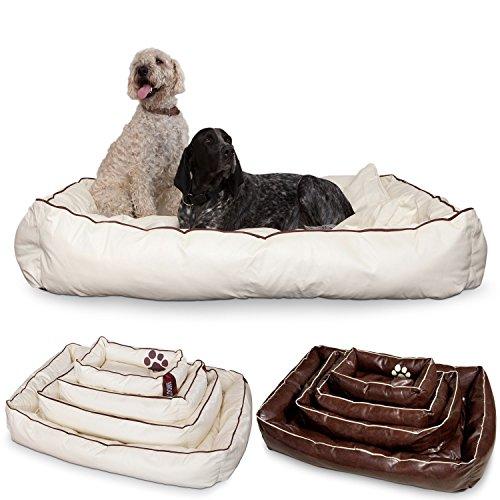 Smoothy hondenmand van leer; hondenmandje; hondenbed voor luxe viervoeter; beige-wit maat XXL (145x100cm)