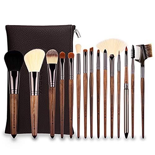 Pinceaux De Maquillage Brosses 15PCS De Maquillage De Cheveux En Nylon Poignée De Noyer Noir De Maquillage De Pinceau De Maquillage Set Professionnel Synthétique Make Up Brush Set,Marron