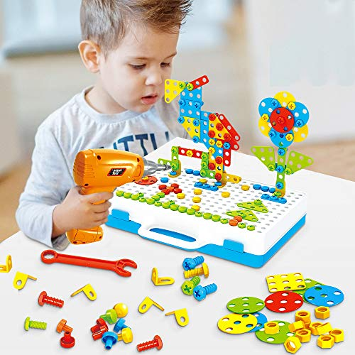 Lekebaby Electric Drill Puzzle Construction Toys Educational Creative Set 237 Pieces Toy Kit for Children Kids Boys