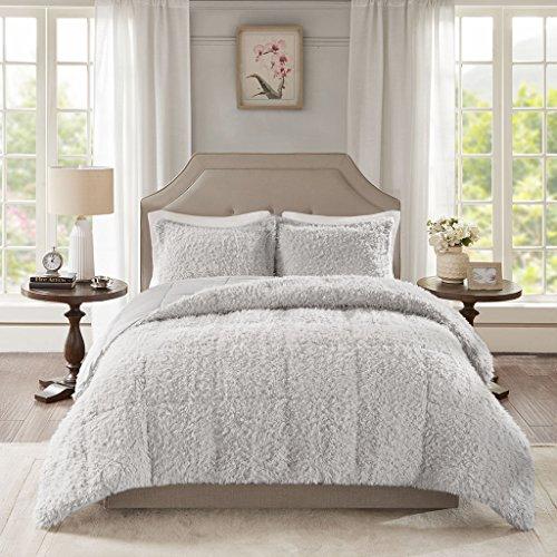 Madison Park Nova Luxury Soft Mohair Reverse Faux Mink Comforter Set, King, Grey
