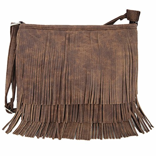 Western Cowgirl Style Fringe Cross Body Handbags Concealed Carry Purse Country Women Single Shoulder Bags (Brown)