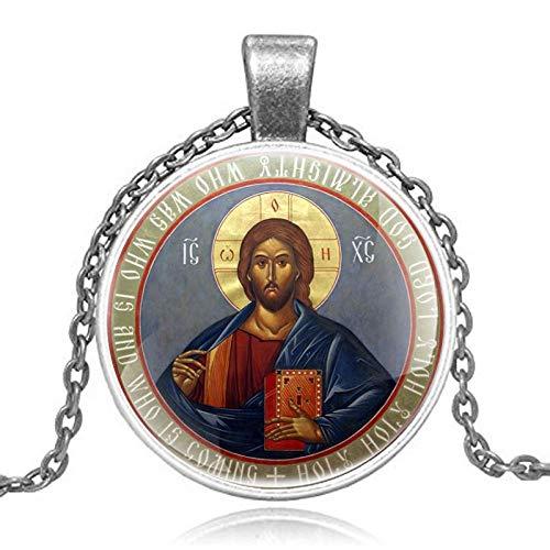 LEYUANA Clásico clásico ortodoxo Cristianismo Colgante Collar Hombres Mujeres Arte Vidrio cabujón joyería Regalos Plata