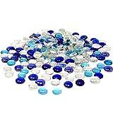 TSY TOOL 3 Lb (300PCS) Flat Glass Marbles Blue, Clear Mixed Color Glass Gems Pebbles Stones Marbles Vase Filler Accents and Crafting Aquarium Decor