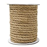 18M Cuerda de Yute Gruesa Cuerda cáñamo 6mm,Natural Rollo de Cordel Yute para Embalaje,decoración, jardinería