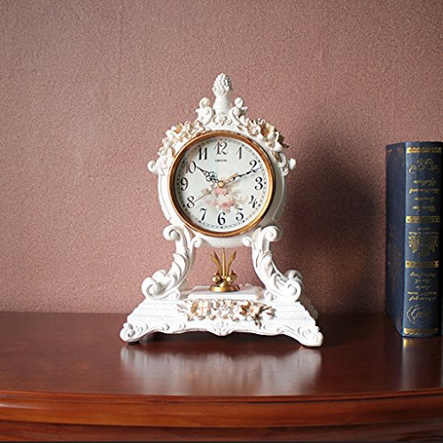 Horloge de table Horloge haut de gamme de salon de style européen / personnalité créative muet maison horloge rétro Pendules et horloges ( Couleur : Milky )