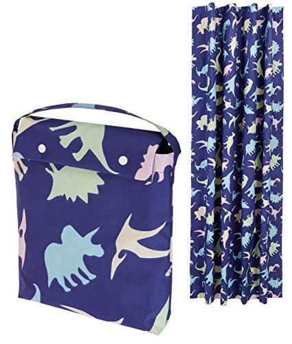 Amazon Basics – Cortina opaca de viaje con ventosas ideal para niños, dinosaurios multicolores