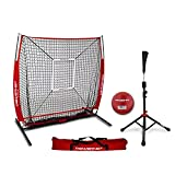 PowerNet 5x5 Practice Net + Deluxe Tee + Strike Zone + Weighted Training Ball Bundle (Red)...