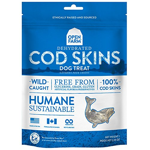Open Farm Grain-Free Dehydrated Cod Skins Dog Treats 2.25 Ounces