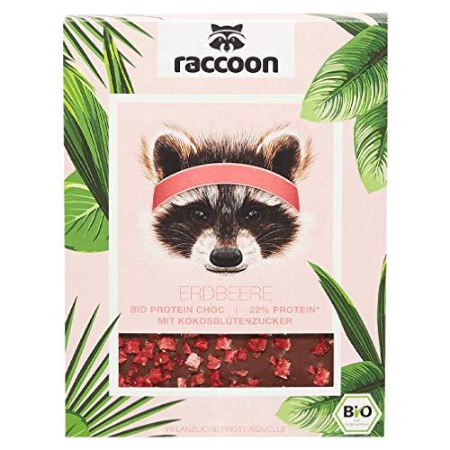 Raccoon Erdbeer Proteinschokolade I 70 Gramm vegane Bio-Schokolade I Weniger Zucker, mehr Eiweiß & intensiver Kakao-Geschmack I Hochwertige Schokolade für Sportler, Ernährungsbewusste & Foodies