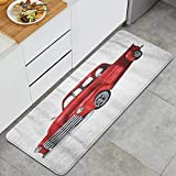 KGSPK Anti Fatigue Kitchen Rugs Red Old Watercolor Vintage Toy Model Truck White Design Pickup Car Classic Retro Van Comfort Non-Slip Doormat Mat Area Rug for Floor Home,Office,Sink,Laundry