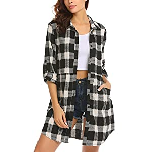 Women's Flannel Plaid Shirts Roll Up Long Sleeve Pockets Mid-Long Cas...