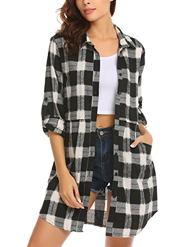 UNibelle Womens Flanellen Plaid Shirts Roll Up lange mouwen Zakken Mid-Lange Casual Jongen Shirts