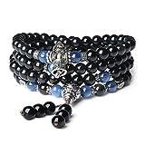 COAI Bracciale Collana 108 Perle Mala in Ossidiana e Cianite, Bracciale Buddhista Unisex