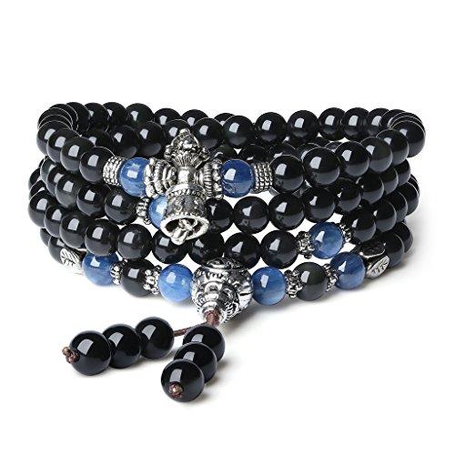 COAI® 108 Perlen Multilayer Kyanit und Obsidian Mala Wickelarmband Gebetskette für Damen/Herren
