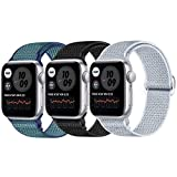 JUCC 3 Pack Correas Compatible con Apple Watch 44mm 42mm 38mm 40mm,Pulseras de Repuesto de Nylon Correa para iWatch Series 5 4 3 2 1,Mujer y Hombre (42mm/44mm,Negro/Azul Verde/Gris)