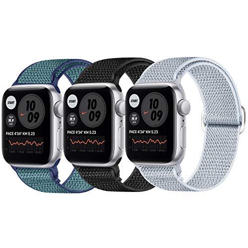 JUCC 3 Pack Correas Compatible con Apple Watch 44mm 42mm 38mm 40mm,Pulseras de Repuesto de Nylon Correa para iWatch Series 5 4 3 2 1,Mujer y Hombre (42mm/44mm,Negro/Azul Verde/Gris)