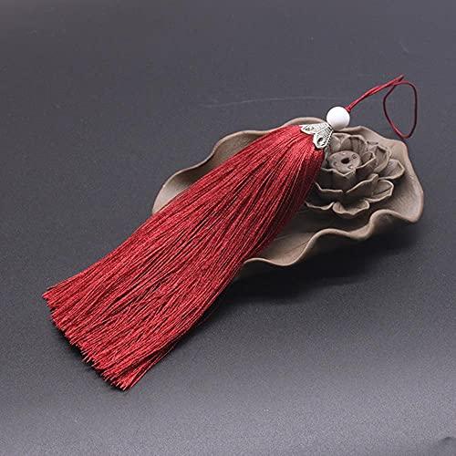 4 borlas largas para manualidades suministros decorativos DIY hogar textil cortina ropa costura cuerda borla flecos borde vino rojo