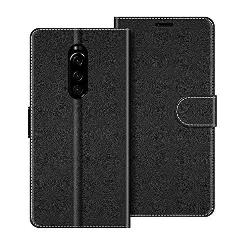 COODIO Handyhülle für Sony Xperia 1 Handy Hülle, Sony Xperia 1 Hülle Leder Handytasche für Sony Xperia 1 Klapphülle Tasche, Schwarz