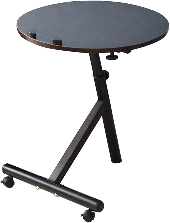 Portable PC Laptop Table Workstation   Round Gaming Computer Desk   Adjustable Height   360° Swivel and 180° Tilt   Lockable Black Walnut color