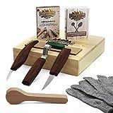 HOLZWURM Schnitzmesser Set in Holzbox inkl Holzrohling, Anleitung & Schnittschutzhandschuhe - umfangreiches Schnitzwerkzeug-Set zum Schnitzen