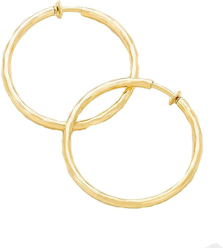 1.75 in Solid Wave Goldtone Hoop Clip On Earrings - Pull Back Spring Loaded Mechanism - Ease & Comfort