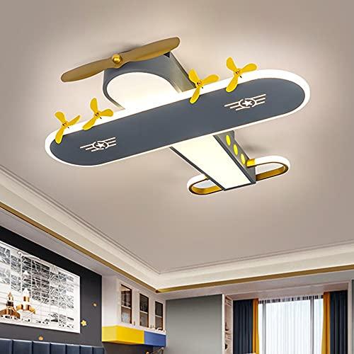 Luz de techo Lámpara de la habitación para niños Creativo simple moderno Dibujos animados Gris Aviones Lámpara American Boy Room Dormitorio Estudio LED Ojo Protección Araña Araña Tres Color Dimensión