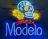 Queen Sense 20'x16' Cerveza Modelo Skull Neon Sign Light Man Cave Bar Pub Beer Handcrafted Home Wall Decor Lamp KC11