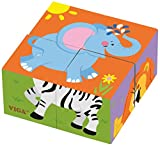 VIGA 50836 Toys-Würfelpuzzle-Wildtiere, Multi Color