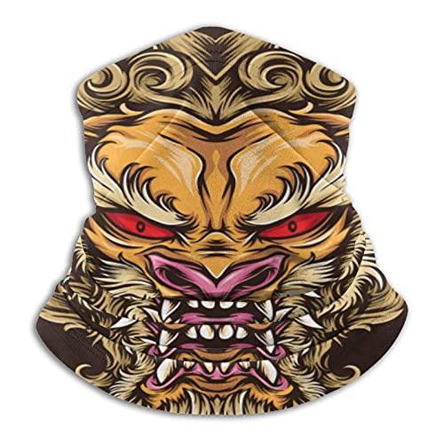 asdew987 León japonés tatuaje hombres y mujeres microfibra calentador de cuello Polaina elástico cara media máscara tubo bufanda versatilidad bandana diadema diadema