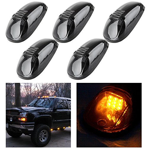cciyu Cab Roof Marker Clearance Light Assembly 5x Smoke Covers Amber Replacement fit for 1999-2002 Dodge Ram 2500 3500 4500 cab marker